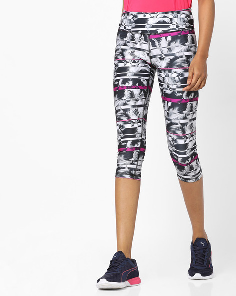 Feather Print Cropped Leggings By Puma ( Black )