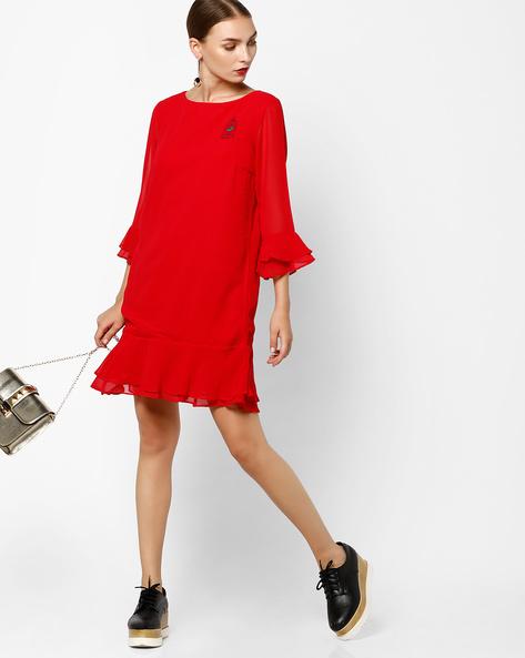 Shift Dress With Flounce Hem By AJIO ( Red )