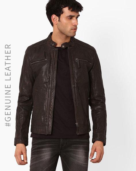 Flat 61% Off on Men's By Ajio | TEAKWOOD LEATHERS Genuine Leather Biker Jacket @ Rs.6,825