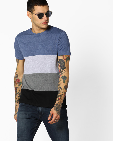 Colourblock Crew-Neck T-shirt By AJIO ( Greymelange )