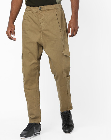 Mid-Rise Jeans With Cargo Pockets By Blue Saint ( Olive )