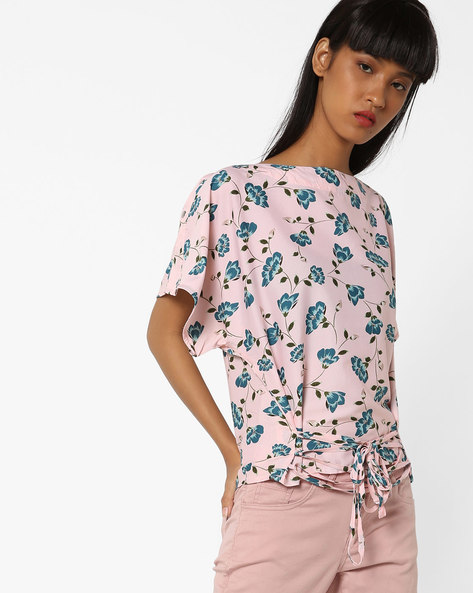 Floral Print Top With Tie-Ups By Oxolloxo ( Ivory )