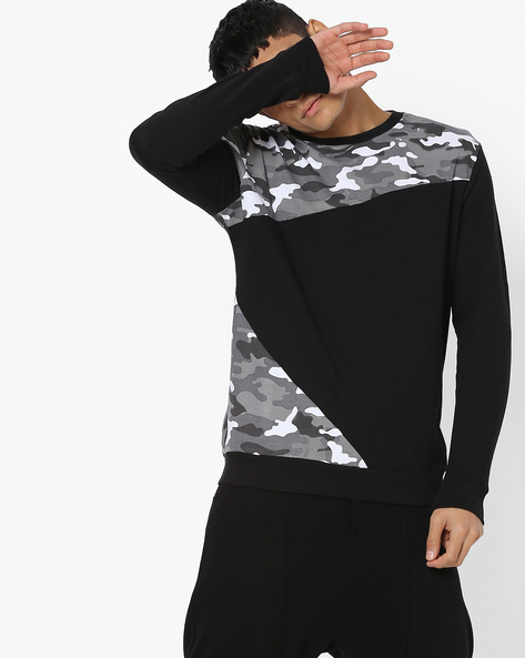 Panelled Sweatshirt With Camouflage Print By DEEZENO ( Grey )
