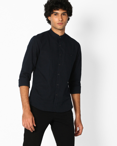 Cotton Shirt With Band Collar By NETPLAY ( Navy )
