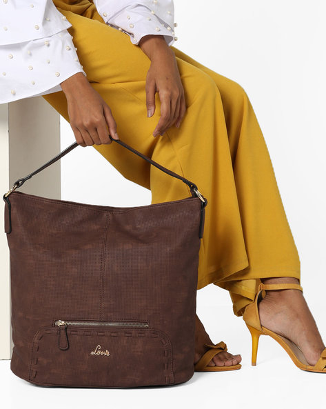Textured Hobo Bag By Lavie ( Brown )