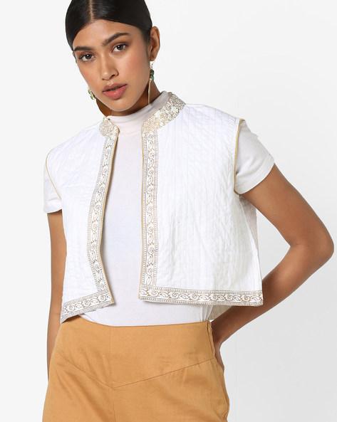 Open-Front Cropped Jacket By Jiyaa ( White )