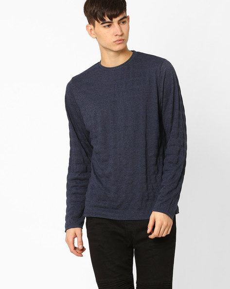 Muscle Fit Crew-Neck T-shirt With Full Sleeves By BASICS ( Navy )