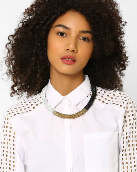 Metal Spring Collar Necklace By BLUEBERRY ( Multi )