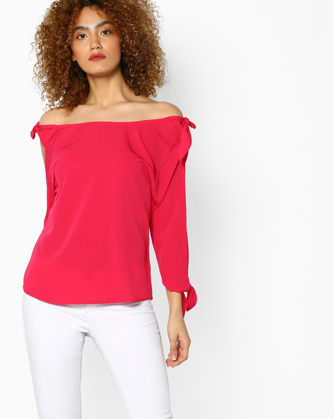 Cold-Shoulder Top With Boat Neck By AJIO ( Fuchsia )