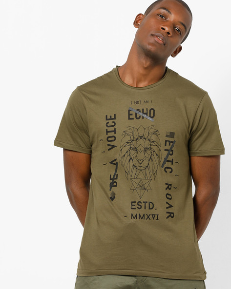 Graphic & Typographic Print T-shirt By AJIO ( Olive )