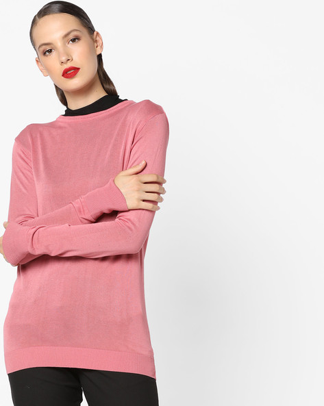 Knitted Top With Ribbed Hems By AJIO ( Lightpink )