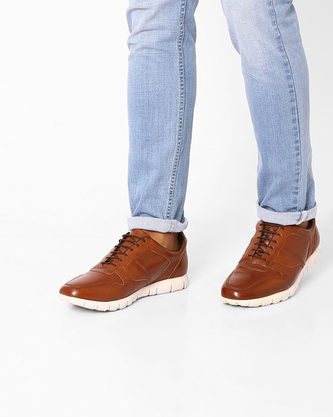 Panelled Faux-Leather Casual Shoes By Knotty Derby ( Tan )