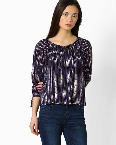 Printed Top With Sleeve Tie-Ups By FIG ( Navy )
