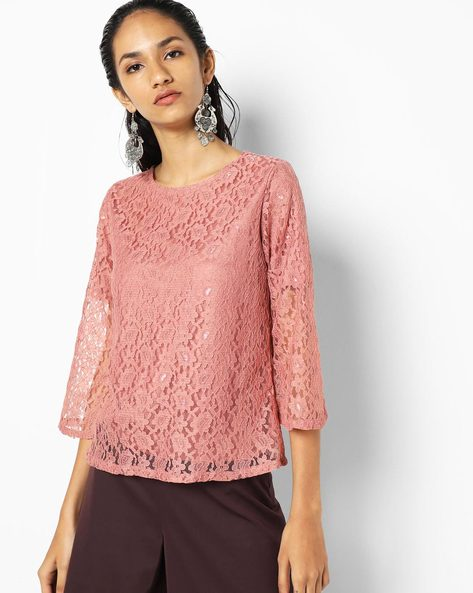 Floral Lace Top With Bell Sleeves By Sassafras ( Pink )