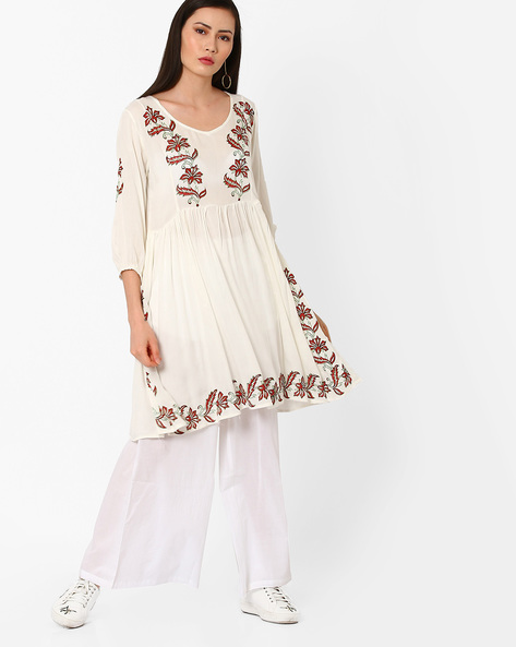 Floral Print Tunic With Gathers By Shakumbhari ( Offwhite )