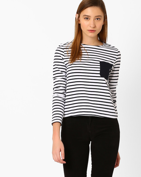 Striped Top With Patch Pocket By Vero Moda ( White )