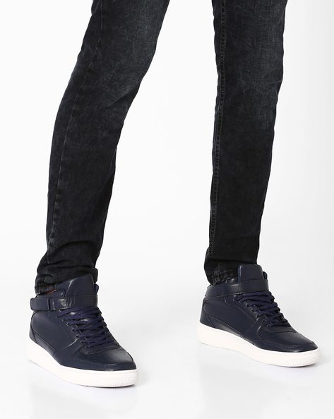 Mid-Top Sneakers With Ankle Strap By AJIO ( Navy )