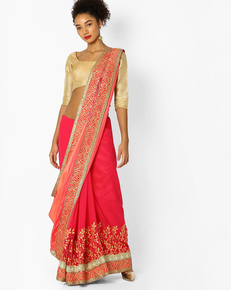 Saree With Embellishments & Embroidery By Parmita ( Pink )