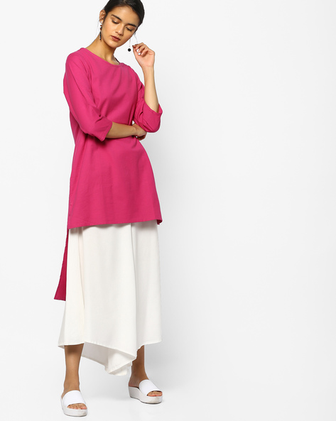 High-Low Tunic With Insert Pockets By PE IW Fusion ( Fuchsia )