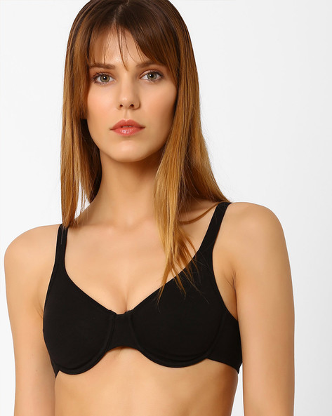 Underwired Bra With Adjustable Straps By Zivame ( Black )