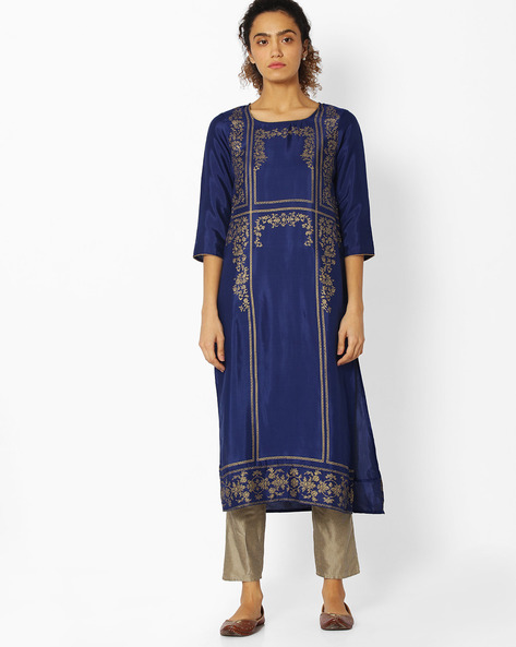 Printed Straight Kurta By AURELIA ( Blue ) - 440732814006