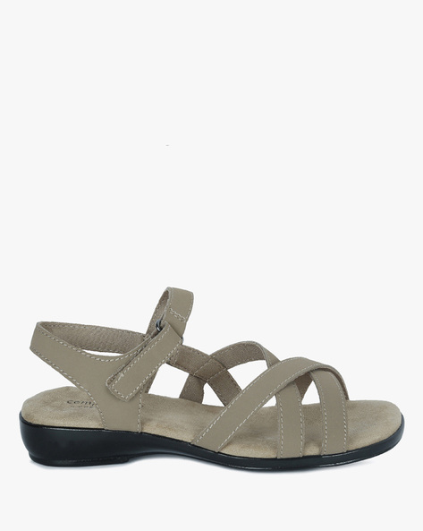 Phoebe Strappy Sandals With Velcro Closure By COMFORT PLUS ( Tan )