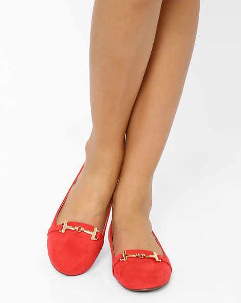 Ballerinas With Metallic Detail By Tresmode ( Red )