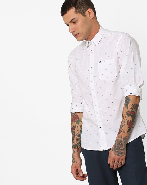 Slim Fit Shirt With Button-Down Collar By Pepe Jeans ( White )