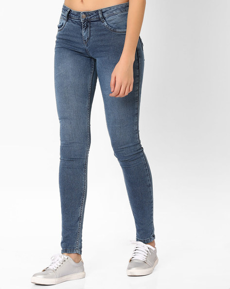 Lightly Washed Skinny Jeans By KRAUS ( Blue ) - 440690876002