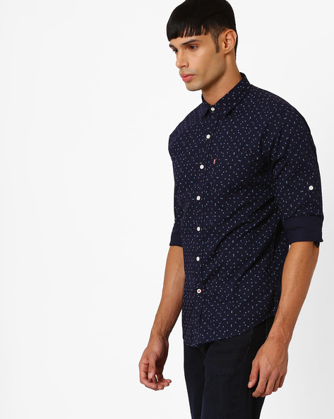 Geometric Print Cotton Shirt By LEVIS ( Blue ) - 460055935002