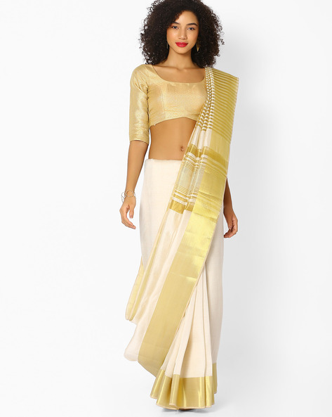 Traditional Saree With Contrast Border By Vastrangi ( White )
