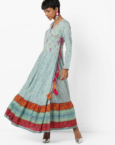 Printed Angrakha Kurta With Tassels By Jaipur Kurti ( Blue )