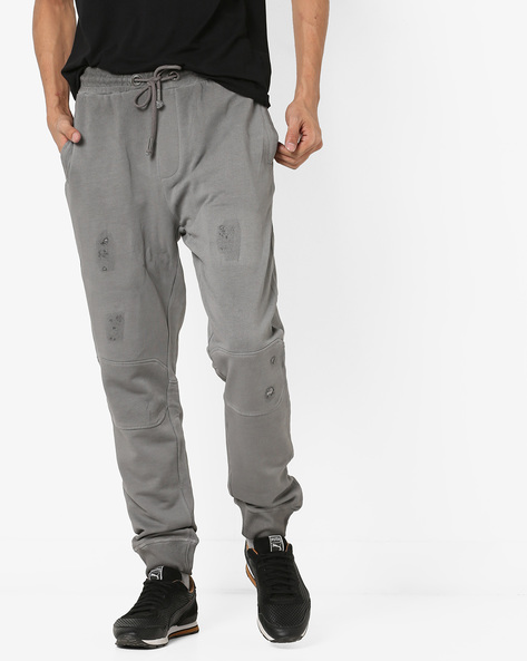 Distressed Track Pants With Drawstring Fastening By ED HARDY ( Charcoal )