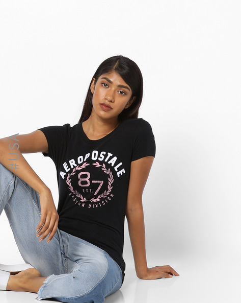 Printed T-shirt With Appliqué By Aeropostale ( Black )
