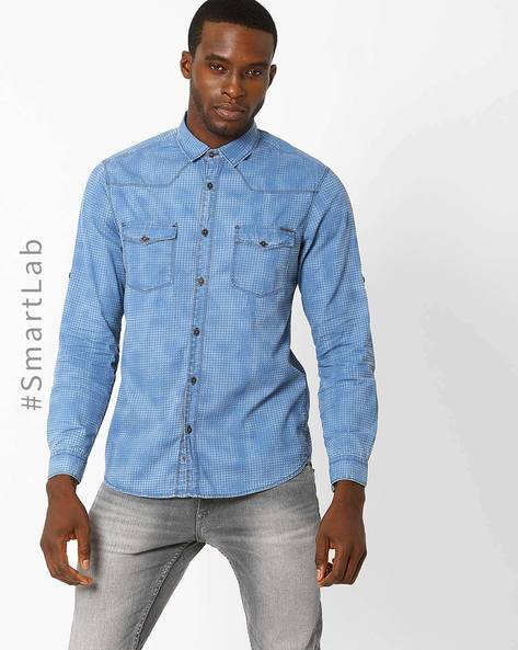 Dot Print Slim Fit Denim Shirt By AJIO ( Blue )