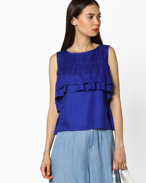 Cold-Shoulder Top With Ruffled Bodice Overlay By AJIO ( Blue )