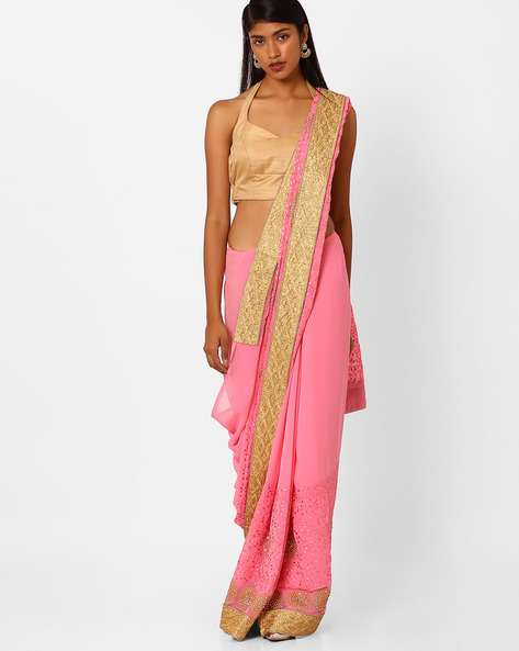 Embroidered Saree With Contrast Lace Border By Amori ( Pink )