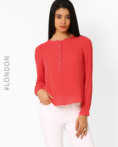 Non-Iron Top With Half Placket By Marks & Spencer ( Coral )