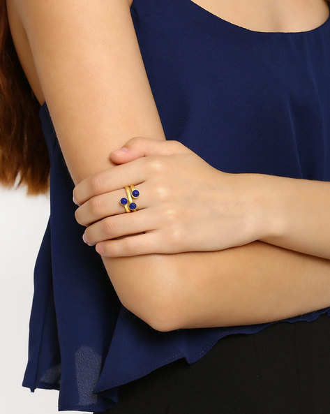 Gold-Plated Handmade Gemstone Ring By DWS ( Blue )