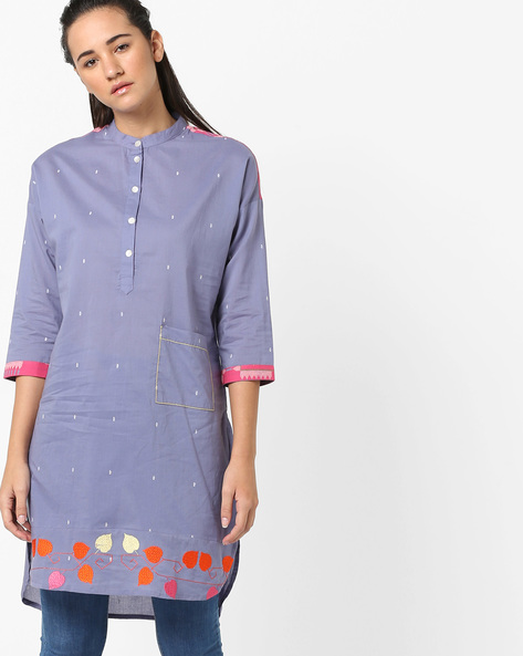 High-Low Kurta With Embroidery By AJIO ( Grey )