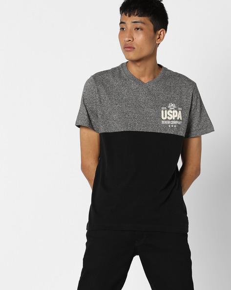 Colourblocked V-Neck T-shirt By US POLO ( Multi )