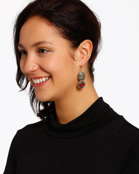 Gold-Plated Dangler Earrings By Shabnam Gitanjali ( Red ) - 460012340001