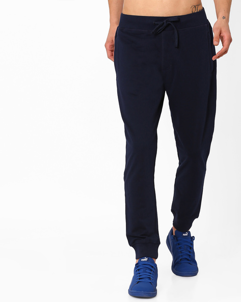 Slim Fit Joggers With Elasticated Waist By AJIO ( Navy ) - 460052115001