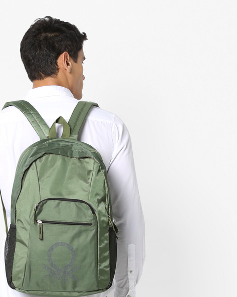 Printed Laptop Backpack With Adjustable Straps By UNITED COLORS OF BENETTON ( Green )