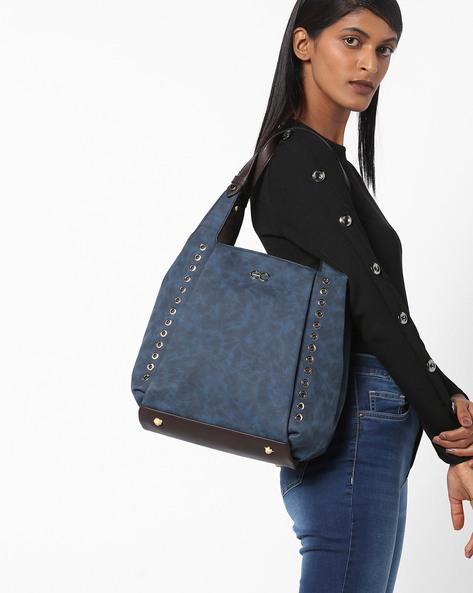 Eyelet Embellished Hobo Handbag By E2O ( Blue )