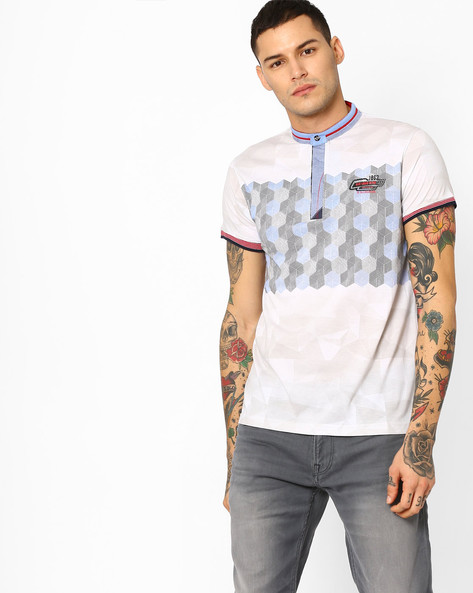 Printed T-shirt With Band Collar By Fort Collins ( Offwhite )