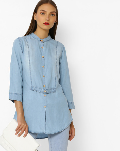 Denim Shirt Tunic With Mandarin Collar By DNMX ( Blue )