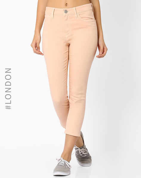Cropped Jeggings By Marks & Spencer ( Peach )