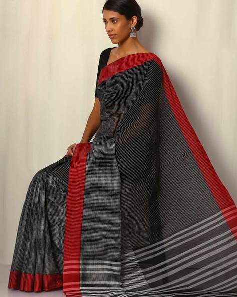 Mercerized Cotton Half & Half Saree With Contrast Border By Indie Picks ( Black )