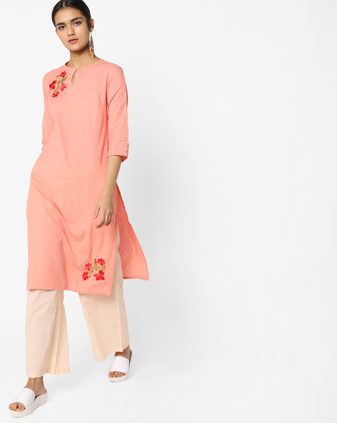 Dobby-Weave Kurta With Palazzo Pants By AJIO ( Lightpink )